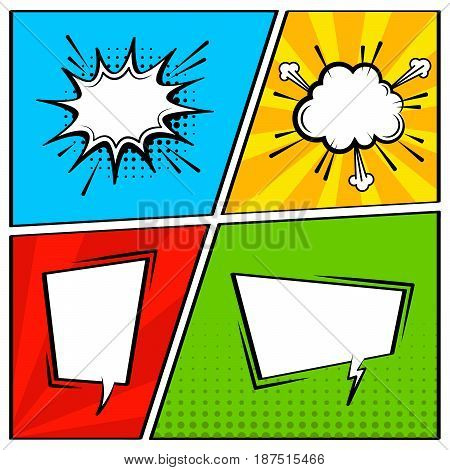Comic speech bubble set. Empty cartoon pop art expression cloud speech boxes. Comics book vector background template. Multicolored background with rays and halftone dots.