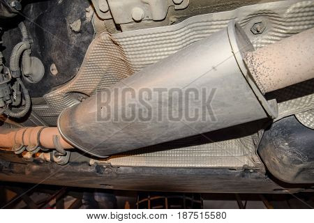 Exhaust System Of The Car. The Muffler Of Exhaust Gases.