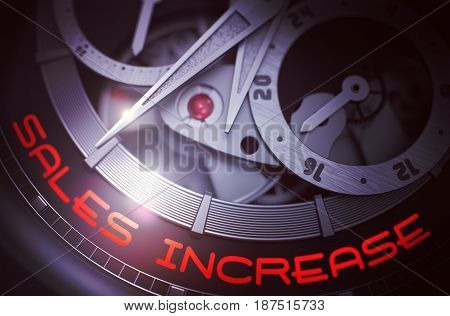 Sales Increase - Black and White Close View of Wristwatch Mechanism. Vintage Watch Machinery Macro Detail and Inscription - Sales Increase. Work Concept with Glow Effect and Lens Flare. 3D Rendering.