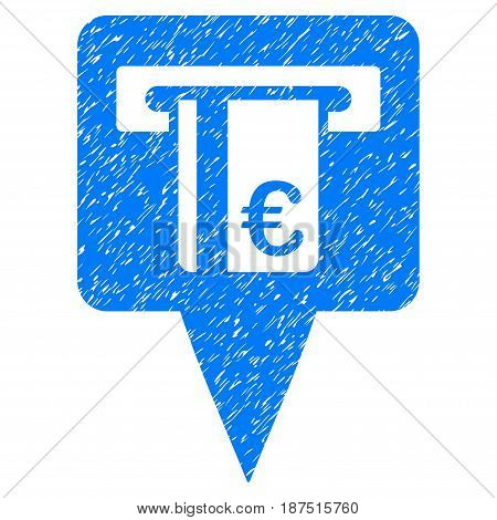 Grunge Euro ATM Pointer icon with grunge design and dirty texture. Unclean vector blue pictogram for rubber seal stamp imitations and watermarks. Draft sign symbol.