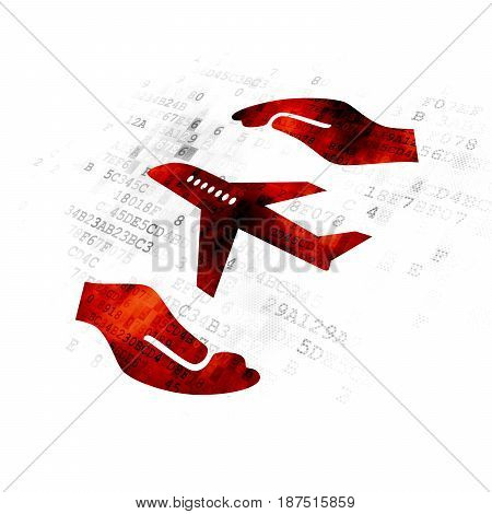 Insurance concept: Pixelated red Airplane And Palm icon on Digital background