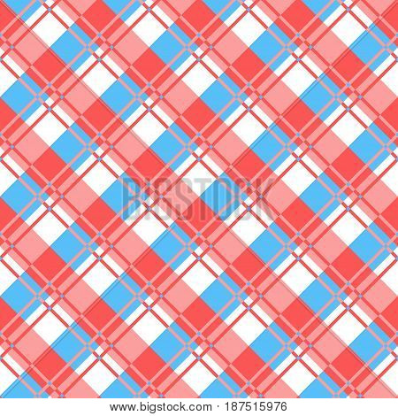 Checkered plaid fabric. Red and blue seamless pattern for textile. Vector illustration