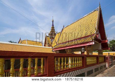 Yellow roof walk way of Thai temple.