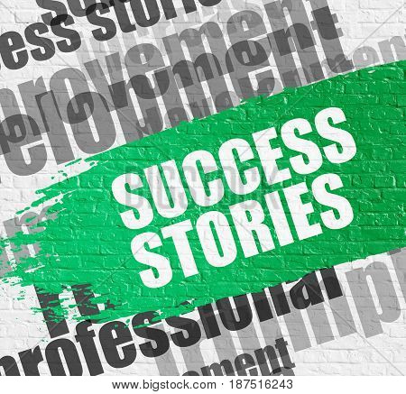 Education Service Concept: Success Stories Modern Style Illustration on Green Brushstroke. Success Stories - on the Brickwall with Word Cloud Around. Modern Illustration.