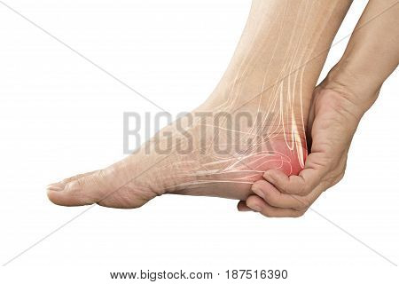 heel muscle pain white background heel injury
