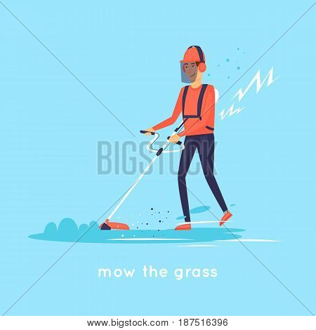 Mow the grass. Flat design vector illustration.