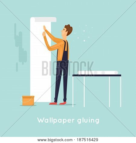 Wallpaper gluing. character. Flat design vector illustration.