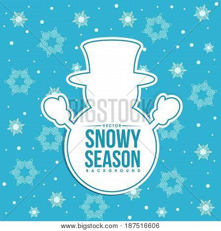 Snowy season - snowman tag and snow vector background design