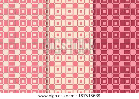 Checkered plaid fabric. Red seamless patterns set for textile. Vector illustration