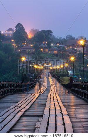 Wooden bridge (Mon Bridge) at dawn in Sangkhlaburi Kanchanaburi Thailand.