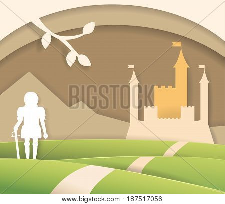 Fairytale paper castle. Isolated art. Vector. Cartoon. Flat. Knight, mountain road Illustration for children's books