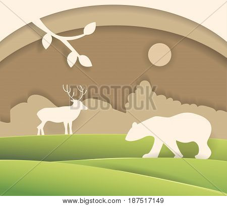 Silhouette of bear and moose. Illustration made of cardboard or paper. Isolated art. Vector. Cartoon. Flat.