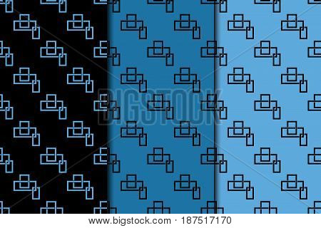 Geometric seamless pattern. Blue and black abstract background with square shape elements. Vector illustration