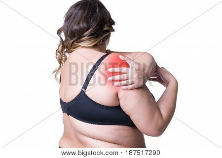 Pain in shoulder care of female hands ache in woman's body with red spots