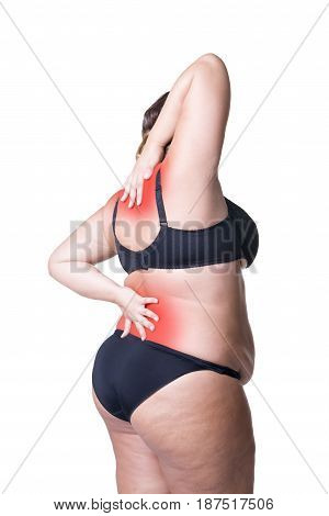 Back and neck pain fat woman with backache overweight female body isolated on white background with red spots