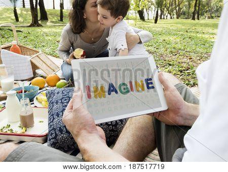 Illustration of imagine inspiration word