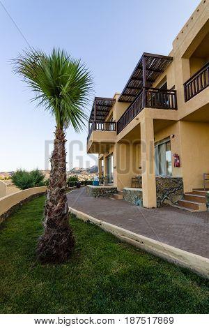 AGIA PELAGIA GREECE - JULY 06 2016: The territory of the five-star hotel Sea Side. Crete.