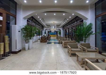 AGIA PELAGIA GREECE - JULY 06 2016: Interior of the lobby of a five star hotel Sea Side. Crete.