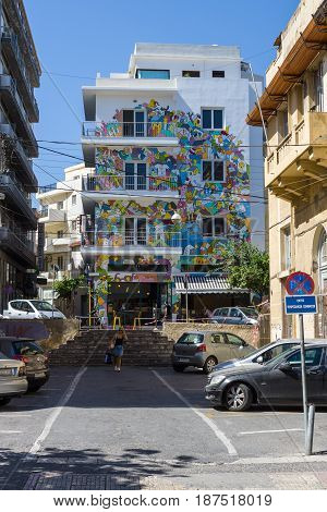 HERAKLION GREECE - JULY 09 2016: Crete. Nicely painted building in the historic center of the city. Heraklion - the largest city on the island.