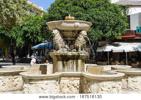 HERAKLION GREECE - JULY 09 2016: Crete. A fragment of the Morosini Fountain known as