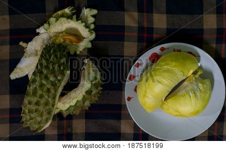 Mon Thong, sweet ripe Thai durian flesh.