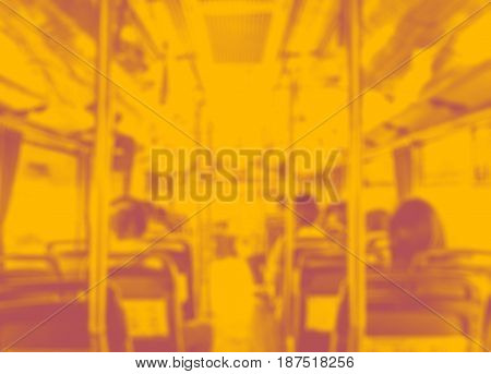 Abstract Blur Background, Inside Of Public Bus With Seat And People In Duo Tone Color Style