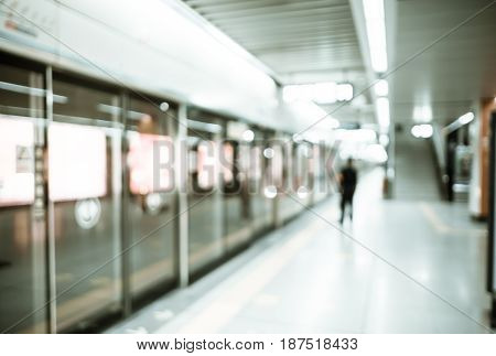 Abstract Blurred Background : People Waiting Train At Subway