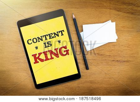 Content Is King On Mobile Device Screen With Pen And Business Card On Wood Table,digital Marketing C