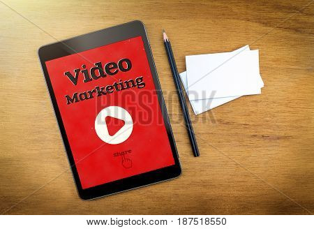Video Marketing On Mobile Device Screen With Pen And Business Card On Wood Table,digital Marketing C