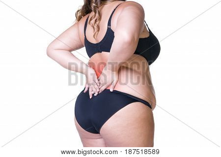 Back pain fat woman with backache overweight female body isolated on white background with red spots
