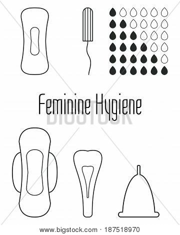 Vector pattern set of menstruation and daily sanitary pads tampon and menstrual cup. Hygiene protection for woman critical days. Isolated on white. Gynecological menstruation cycle