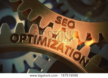 Golden Metallic Gears with SEO Optimization Concept. SEO Optimization on the Mechanism of Golden Cog Gears with Glow Effect. 3D Rendering.