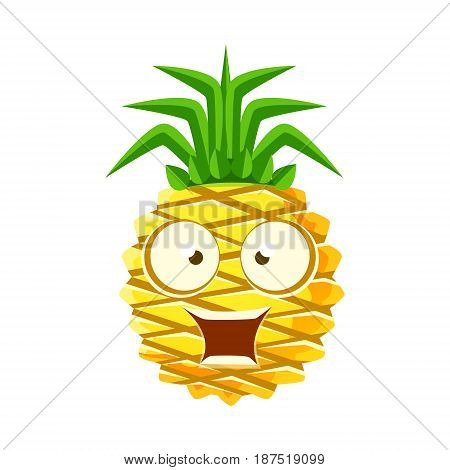 Surprised funny pineapple with big eyes. Cute cartoon emoji character vector Illustration isolated on a white background