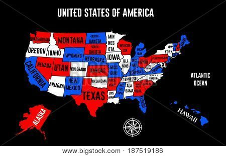the illustration - map of the USA with States.