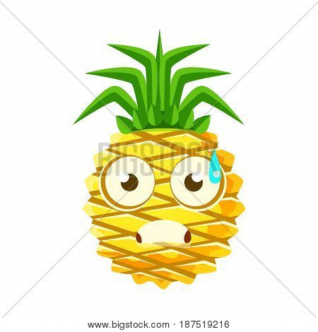 Terrified pineapple face. Cute cartoon emoji character vector Illustration isolated on a white background