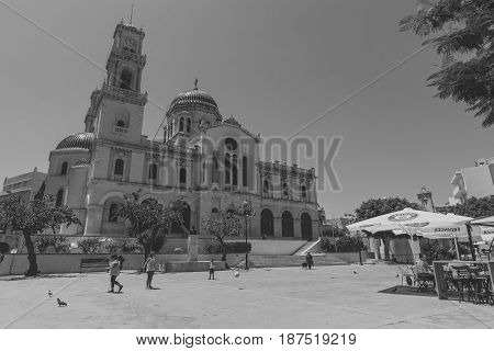 HERAKLION GREECE - JULY 09 2016: Crete. Agios Minas Cathedral - Greek Orthodox Church. The residence of Archbishop of Crete. Black and white. Stylization.