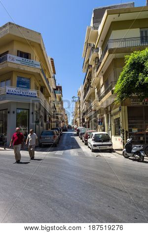 HERAKLION GREECE - JULY 09 2016: Crete. Crossroads in the old part of the city. Heraklion - the largest city on the island.
