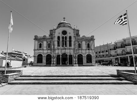 HERAKLION GREECE - JULY 09 2016: Crete. Agios Minas Cathedral - Greek Orthodox Church. The residence of Archbishop of Crete. Black and white.