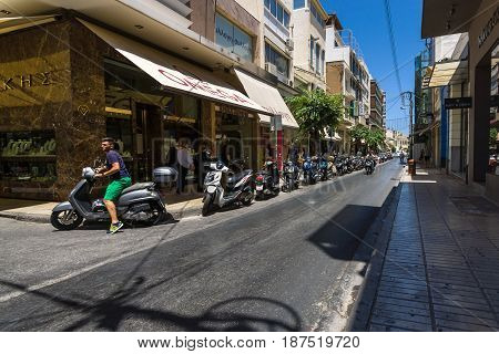 HERAKLION GREECE - JULY 09 2016: Crete. The narrow shopping streets in the old part of the city. Heraklion - the largest city on the island.