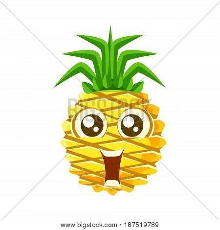 Smiling funny pineapple with big eyes. Cute cartoon emoji character vector Illustration isolated on a white background