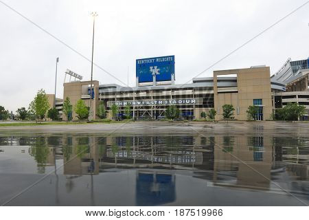 LEXINGTON, KENTUCKY - MAY 12, 2017:  Commonwealth Stadium, recently changed to Kroger Stadium, is home to the University of Kentucky Wildcats.