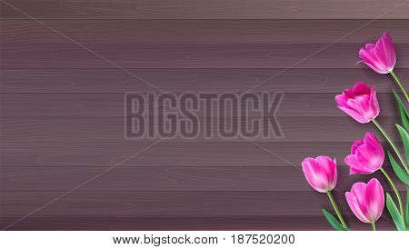 Realistic vector colorful pink tulips set on wooden background from planks. Not trace. Template with pink tulips for Valentine or Mother day, postcards, printing on t-shirts with love for loved ones.