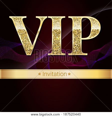 Golden symbol of exclusivity, the label VIP with glitter. Very important person - VIP invitation on elite, abstract a wave of smoke background, luxury card. Template for vip banners, invitation, cover poster