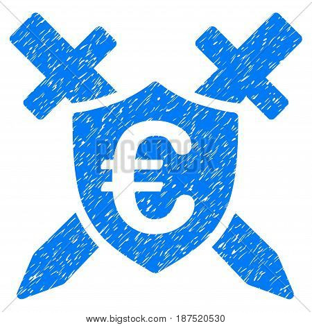 Grunge Euro Guard Shield icon with grunge design and dust texture. Unclean vector blue pictogram for rubber seal stamp imitations and watermarks. Draft emblem symbol.