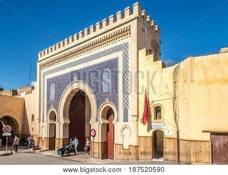 FEZ, MOROCCO - APRIL 6,2017 - Bab Boujloud (Blue Gate) in Fez of Morocco. Fez city has been called the