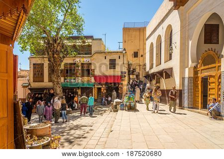FEZ, MOROCCO - APRIL 6,2017 - At the Seffarine place in old medina of Fez. Fez city has been called the
