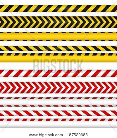 Police line and do not cross ribbons. Yellow and red color danger tapes. Horizontal seamless borders. Vector illustration