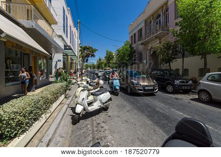 HERAKLION GREECE - JULY 09 2016: Crete. Traffic in the old part of the city. Heraklion - the largest city on the island.