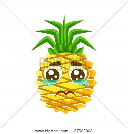 Crying pineapple emoticon. Cute cartoon emoji character vector Illustration isolated on a white background