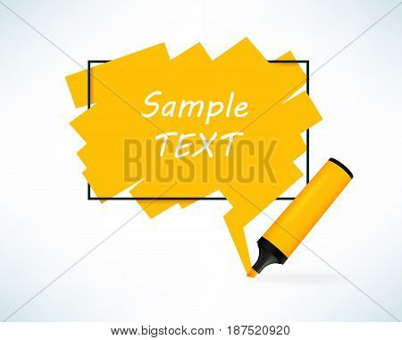 Text box with pen marker. Yellow color frame with copy space. Vector illustration in realistic style.